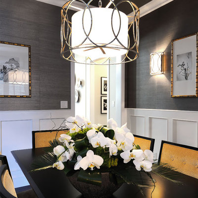 Transitional enclosed dining room photo in Other with gray walls