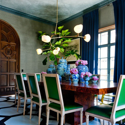 Inspiration for a contemporary painted wood floor enclosed dining room remodel in San Francisco with gray walls