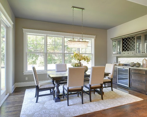 Traditional Dark Wood Floor Dining Room Idea In Minneapolis With Beige Walls