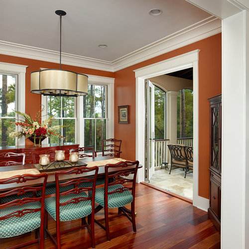 Traditional Dining Room Idea In Charleston With Brown Walls Part 49