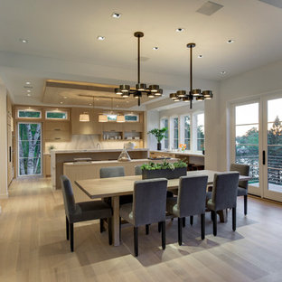 Expansive modern open plan dining room in Minneapolis with white walls and light hardwood flooring.