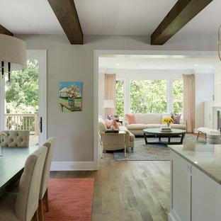 Ejemplo de comedor de cocina costero, grande, con paredes blancas, suelo de madera en tonos medios, chimenea tradicional, marco de chimenea de hormigón y suelo marrón