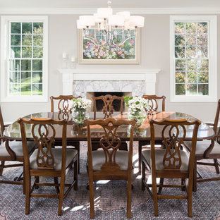 Inspiration For A Timeless Dark Wood Floor And Brown Enclosed Dining Room Remodel In Minneapolis