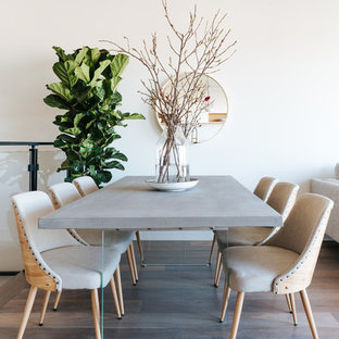 Example Of A Small Trendy Medium Tone Wood Floor And Brown Floor Dining Room  Design In