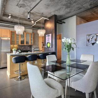 デンバーのインダストリアルスタイルのおしゃれなダイニングキッチン (コンクリートの床、暖炉なし、紫の壁) の写真