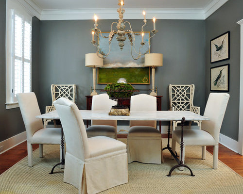 mid sized elegant enclosed dining room photo in atlanta with gray walls and medium tone - Colors To Paint A Dining Room