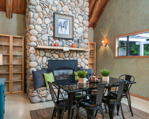 Inspiration For A Rustic Light Wood Floor Dining Room Remodel In Seattle  With Multicolored Walls,