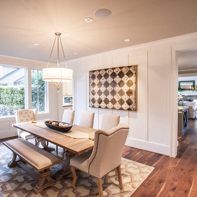 Inspiration for a mid-sized transitional dark wood floor and brown floor enclosed dining room remodel in Portland with white walls