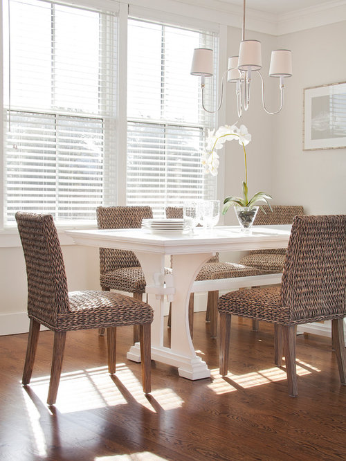 Inspiration For A Beach Style Dark Wood Floor Dining Room Remodel In Boston  With Beige Walls
