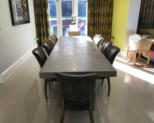Metre Extendable Polished Concrete Dining Table Chairs From Halo - Extendable concrete dining table