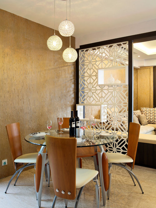Eclectic Dining Room Idea In Singapore With Brown Walls