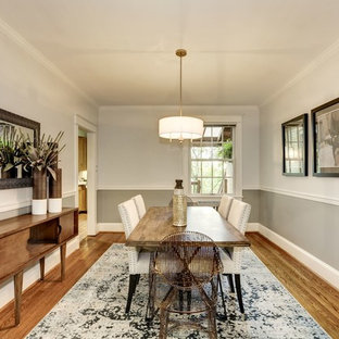 Mid-sized trendy light wood floor and beige floor enclosed dining room photo in DC Metro with gray walls and no fireplace