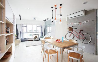 Houzzツアー:北欧デザインに遊び心をプラスした、 シンガポールの公団住宅のリノベーション