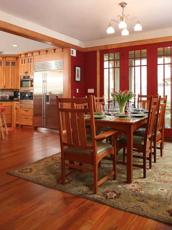 craftsman dining room design ideas, remodels & photos with red walls