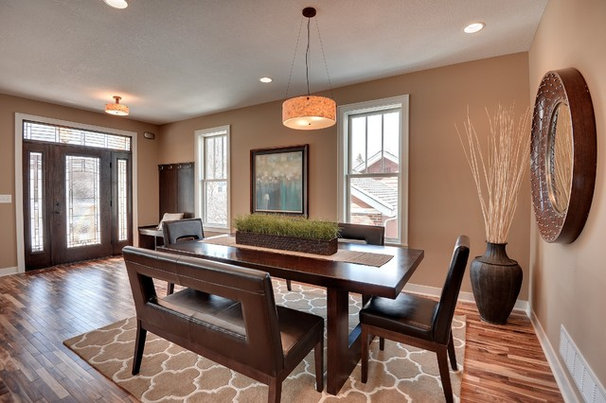Transitional Dining Room by Sustainable Nine Design + Build