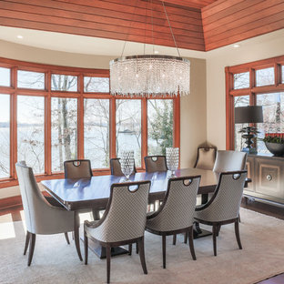 Example Of A Transitional Dark Wood Floor Dining Room Design In Charlotte  With Beige Walls