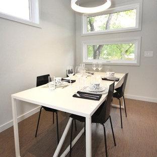 Ispirazione per una sala da pranzo aperta verso la cucina moderna di medie dimensioni con pavimento in sughero, camino bifacciale e cornice del camino in intonaco
