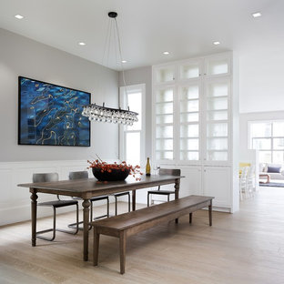 Ochre arctic pear chandelier houzz trendy light wood floor dining room photo in san francisco with gray walls aloadofball Images