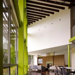 Immagine di una grande sala da pranzo aperta verso il soggiorno design con pareti verdi, pavimento in vinile, camino bifacciale e pavimento marrone