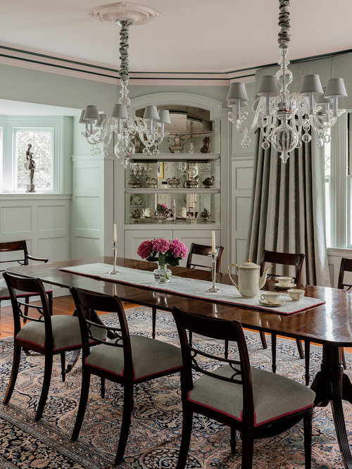 Example of a classic dining room design in Boston with gray walls  dark  hardwood floorsTraditional Dining Room Design Ideas  Remodels   Photos. Traditional Dining Room Tables. Home Design Ideas