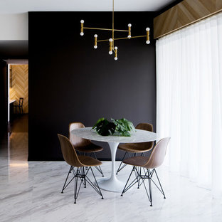Inspiration For A Mid Sized Contemporary Marble Floor Dining Room Remodel In Singapore