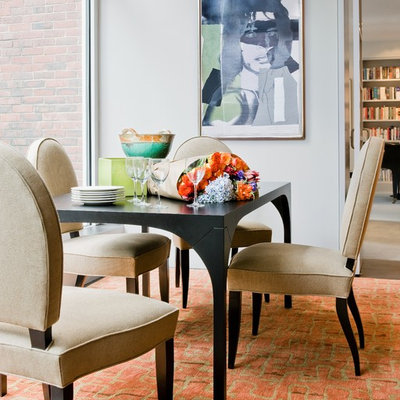 Trendy dining room photo in Boston with white walls