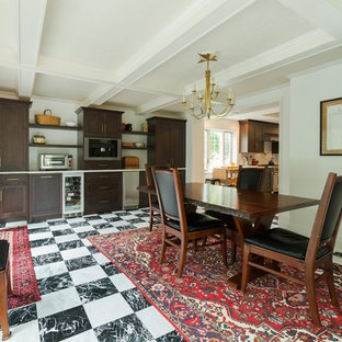 Charmant Inspiration For A Timeless Black Floor Dining Room Remodel In Philadelphia  With White Walls