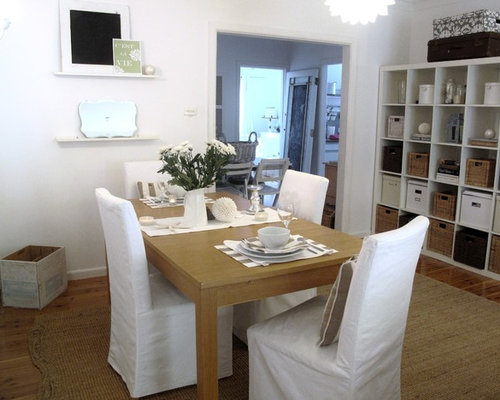 Cottage Chic Dark Wood Floor Dining Room Photo In Sydney With White Walls
