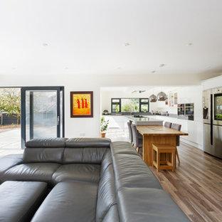 ウエストミッドランズの中くらいのコンテンポラリースタイルのおしゃれなLDK (白い壁、ラミネートの床、両方向型暖炉、漆喰の暖炉まわり、グレーの床) の写真