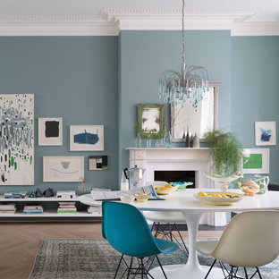 A dining room painted in Oval Room Blue No.85 by Farrow & Ball