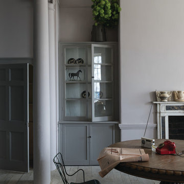 A dining room painted in Peignoir No.286 by Farrow & Ball