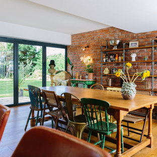 A fun and eclectic dining room with industrial shelving