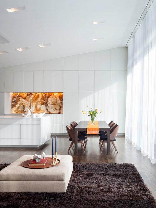 Minimalist Great Room Photo In New York With Dark Hardwood Floors