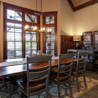 Kitchen/dining room combo - country ceramic tile kitchen/dining room combo idea in Raleigh with beige walls