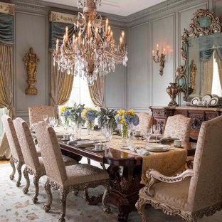 Ispirazione per un'ampia sala da pranzo vittoriana con pareti grigie