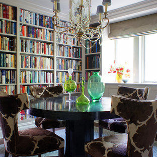 Example of a mid-sized eclectic carpeted dining room design in New York