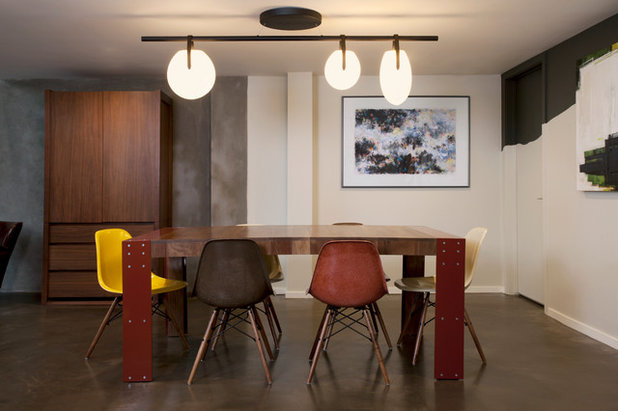 Industrial Dining Room by Margot Hartford Photography