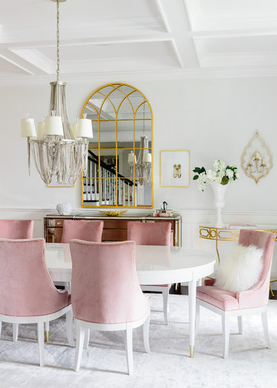 Transitional Dining Room by Joyelle West Photography