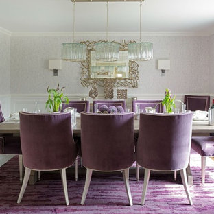 Example of a mid-sized transitional medium tone wood floor and purple floor enclosed dining room design in DC Metro with gray walls