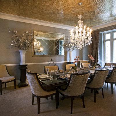 Elegant dark wood floor and beige floor dining room photo in Boston with gray walls