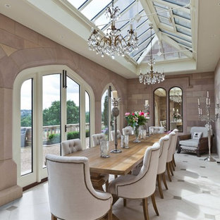 This is an example of a medium sized classic enclosed dining room in Other with white floors and beige walls.