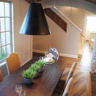 Новый формат декора квартиры: большая кухня-столовая в стиле фьюжн с серыми стенами и полом из винила без камина