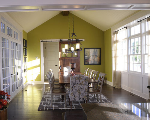 Inspiration For A Modern Dining Room Remodel In Columbus With Green Walls