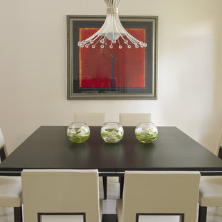 Mid-sized trendy marble floor dining room photo in Miami with white walls
