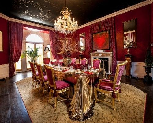 esszimmer mit tunnelkamin und roten wänden: design-ideen, bilder, Wohnzimmer dekoo