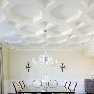 Elegant enclosed dining room photo in New York with white walls