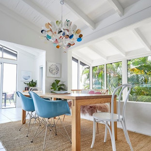 Inspiration for a scandinavian dining room in Sunshine Coast with white walls and white floor.