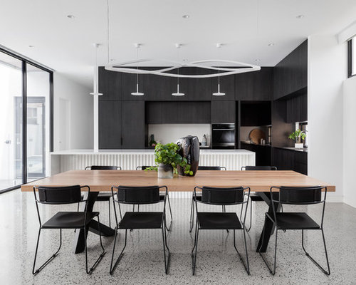 Inspiration For A Large Modern Gray Floor Kitchen/dining Room Combo Remodel  In Melbourne With