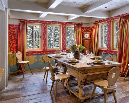 Salle Manger Montagne Avec Un Mur Multicolore Photos