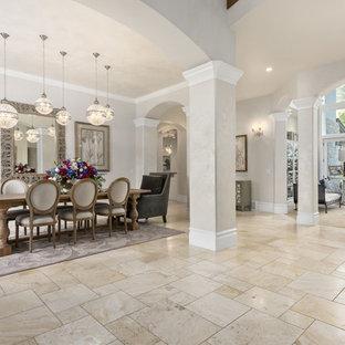 Elegant Beige Floor Great Room Photo In Salt Lake City With Gray Walls